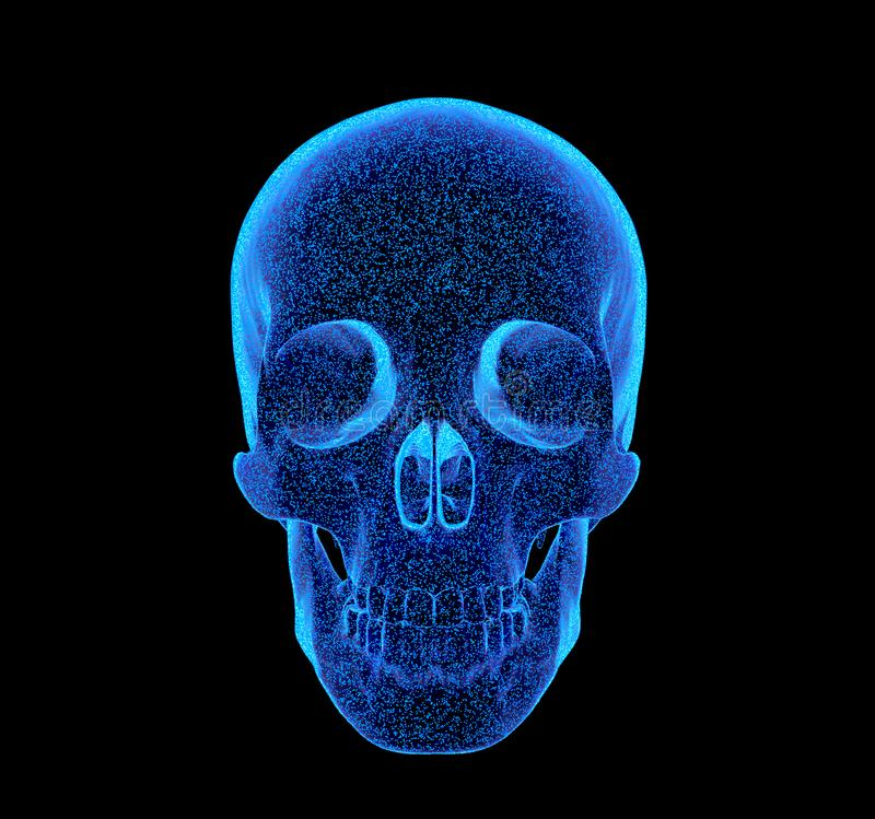 Rendered bluish x-ray image of human skull - side projection. 3D Illustration. Rendered bluish x-ray image of a human skull - side projection vector illustration
