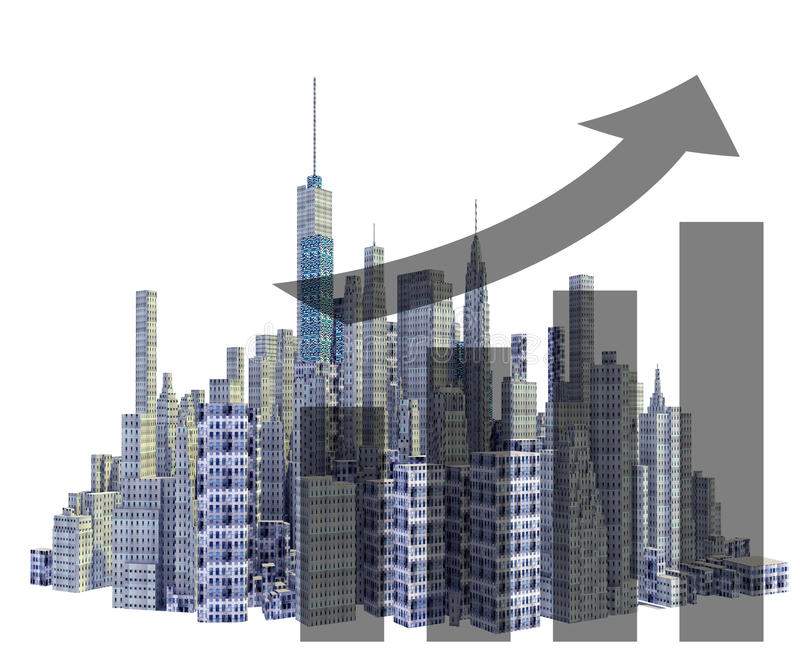 Rendered 3d city skyline with financial growth. Isolated on white background stock illustration
