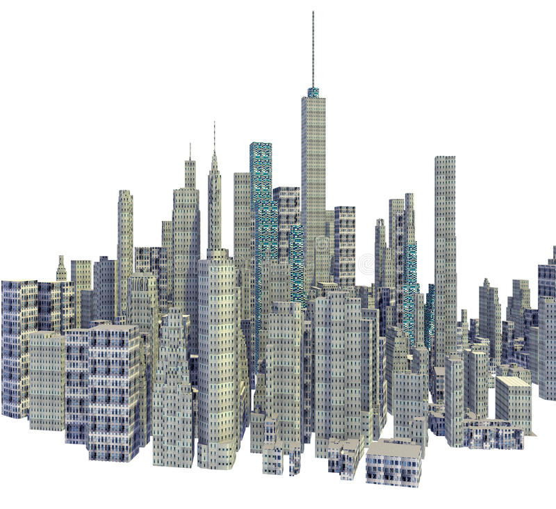 Rendered 3d city skyline isolated. On white background vector illustration