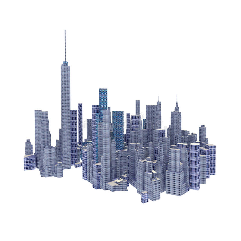 Rendered 3d city skyline isolated. On white background stock illustration