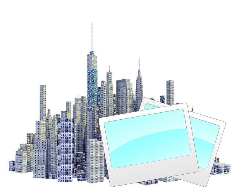 Rendered 3d city skyline with photo frames. Isolated on white background vector illustration