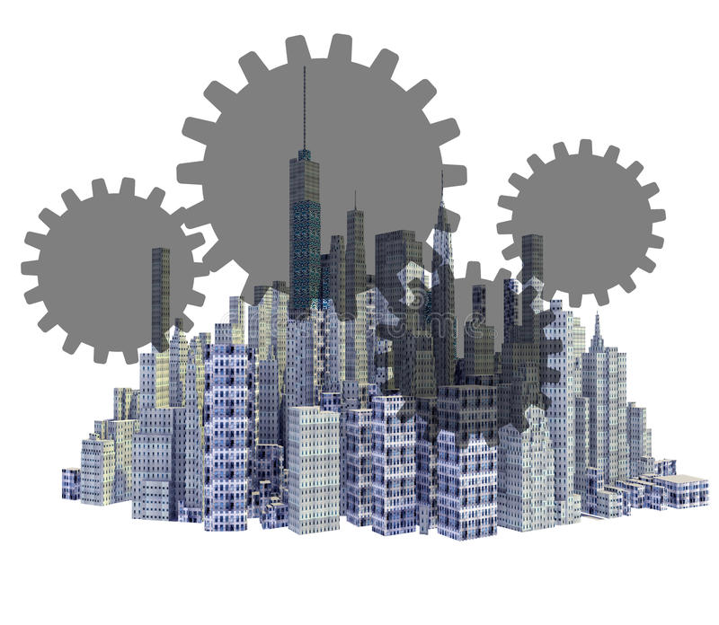 Rendered 3d city skyline with teamwork gears. Isolated on white background royalty free illustration