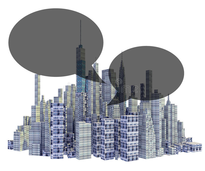 Rendered 3d city skyline with text balloons. Isolated on white background royalty free illustration