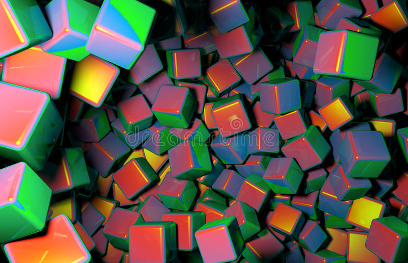 Rendered 3D Cubes Randomly Distributed in Space, Various Colors of Cubes. Rendered 3D Graphic, Many Randomly Distributed Cubes in Space royalty free illustration