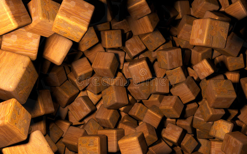 Rendered 3D Cubes Randomly Distributed in Space, Wooden Texture Used royalty free illustration