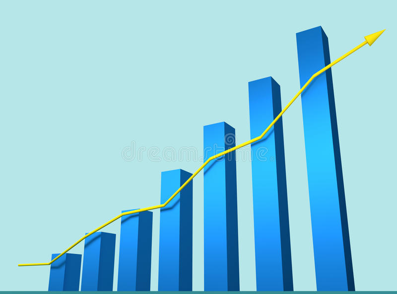 Rendered 3d graph. With arrow stock illustration