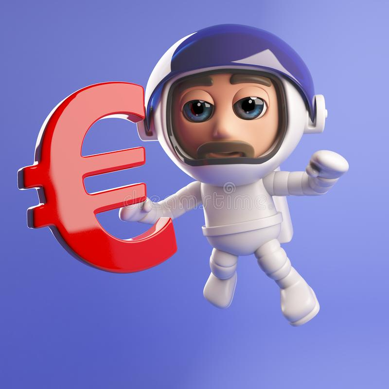 Spaceman astronaut in 3d with Euro currency symbol stock illustration