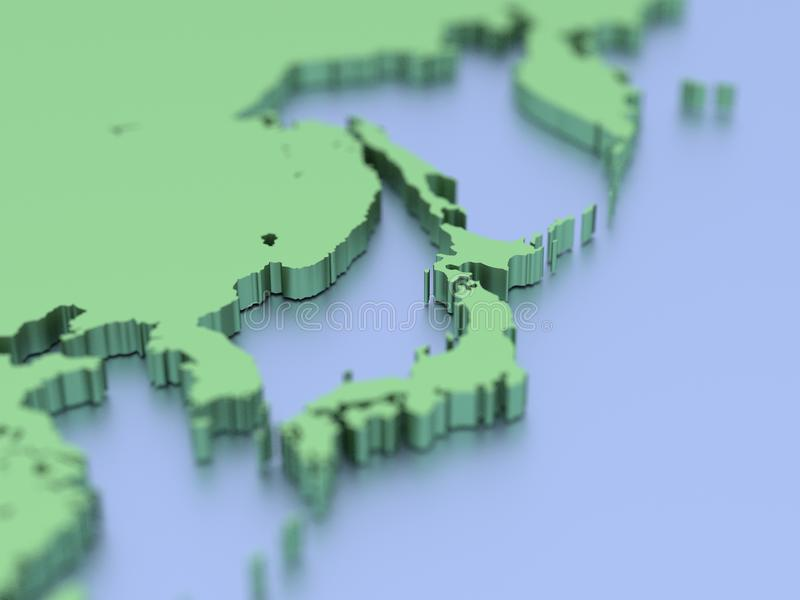 3D map of Japan vector illustration