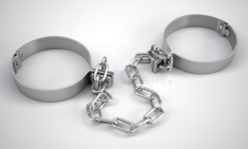 Rendered handcuffs. Close up view stock illustration