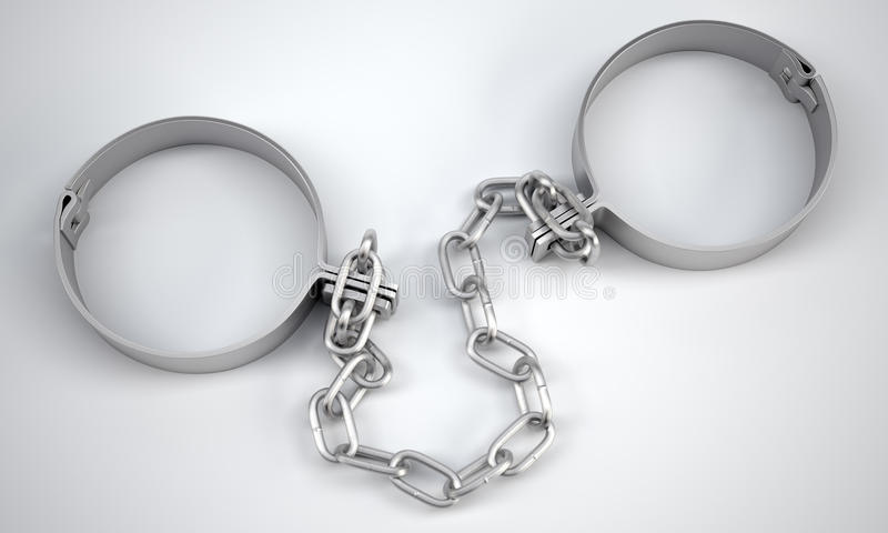 Rendered handcuffs. 3d rendering. Rendered handcuffs on grey background, 3d rendering. Close up view vector illustration