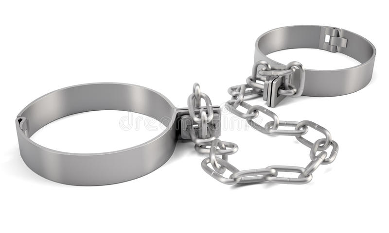 Rendered handcuffs. 3d rendering. Rendered handcuffs isolated on white background, 3d rendering royalty free illustration