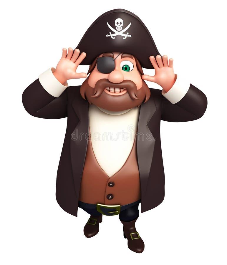 Rendered illustration of pirate funny pose stock illustration
