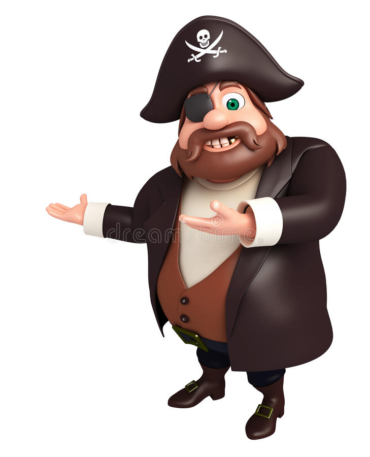 Rendered illustration of pirate Pointing pose royalty free illustration