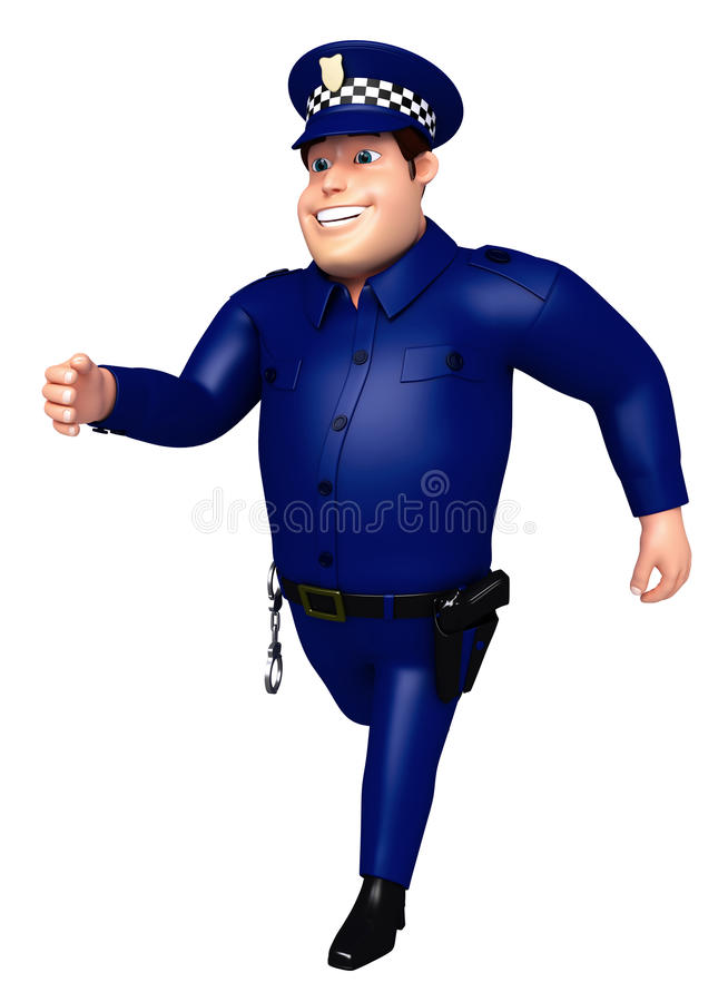 Rendered illustration of Police running pose vector illustration