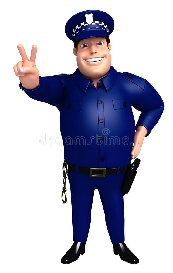 Rendered illustration of Police victory pose royalty free illustration