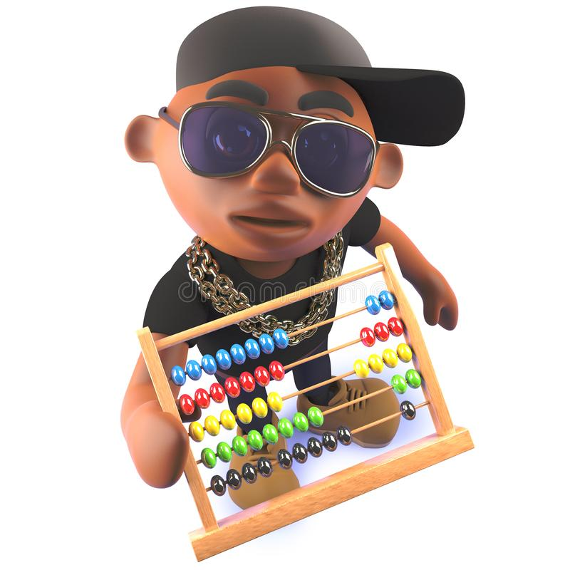 Black hip hop rap artist cartoon character in 3d holding an abacus stock illustration