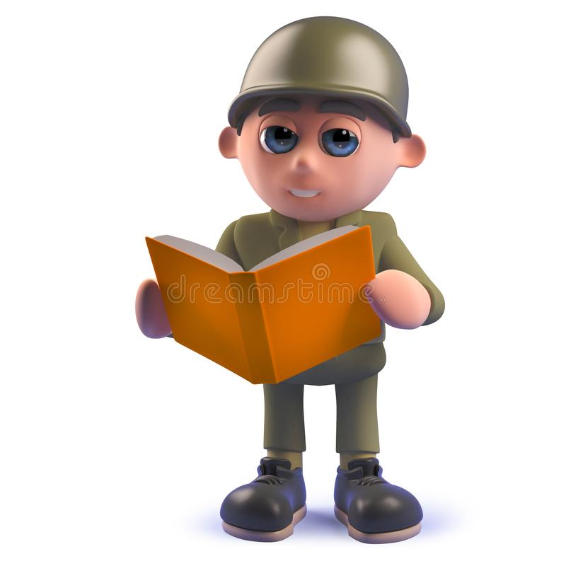 Cartoon army soldier character reading a book in 3d stock illustration