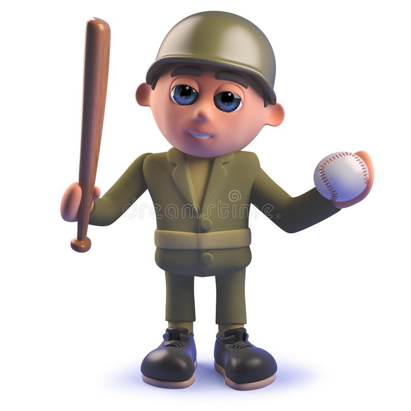 Cartoon army soldier in 3d holding a baseball bat and ball vector illustration