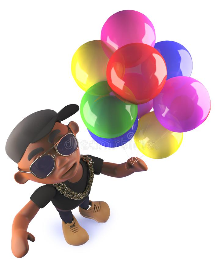 Cartoon black African American hiphop rapper with balloons, 3d illustration vector illustration