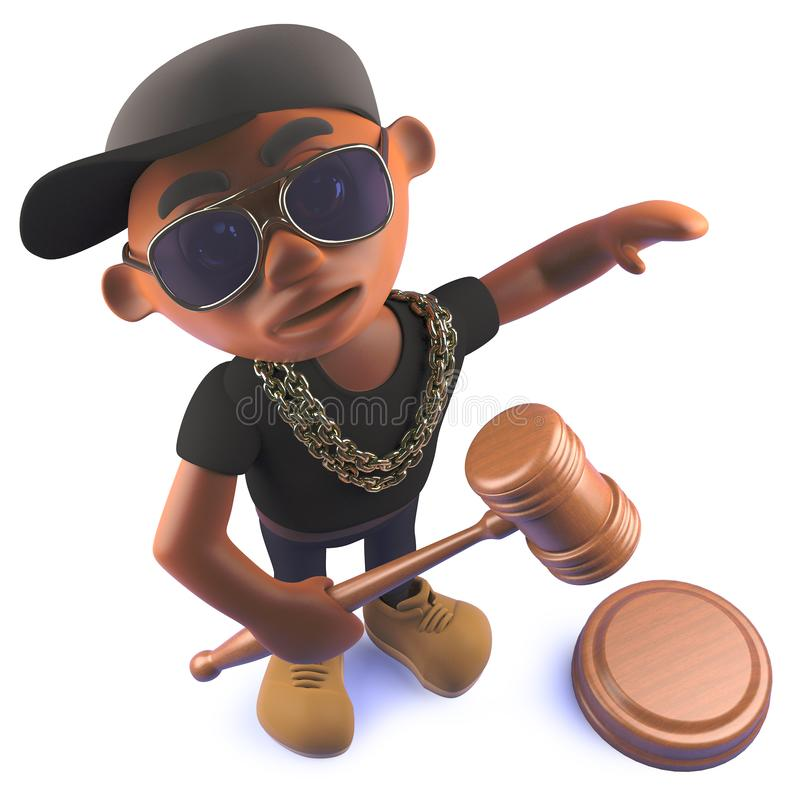 Cartoon black African hiphop rapper in 3d with auction gavel hammer royalty free illustration