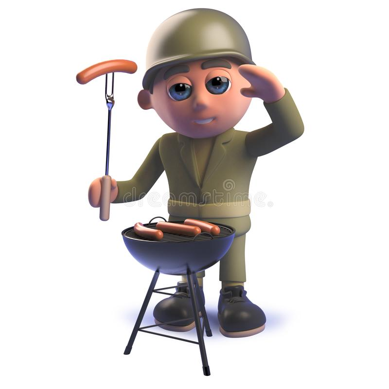 Cartoon 3d army soldier character cooking a barbecue bbq. Rendered image of a cartoon 3d army soldier character cooking a barbecue bbq stock illustration