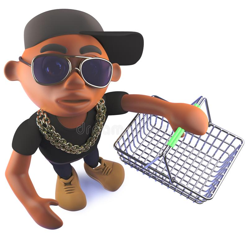 Cartoon 3d black African hiphop rapper holding an empty shopping basket royalty free illustration