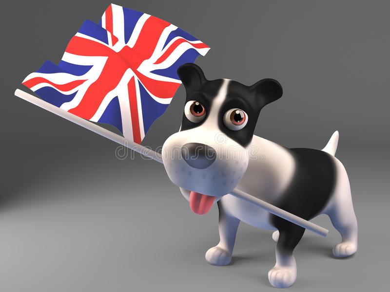 Cartoon 3d puppy dog carrying the British flag vector illustration
