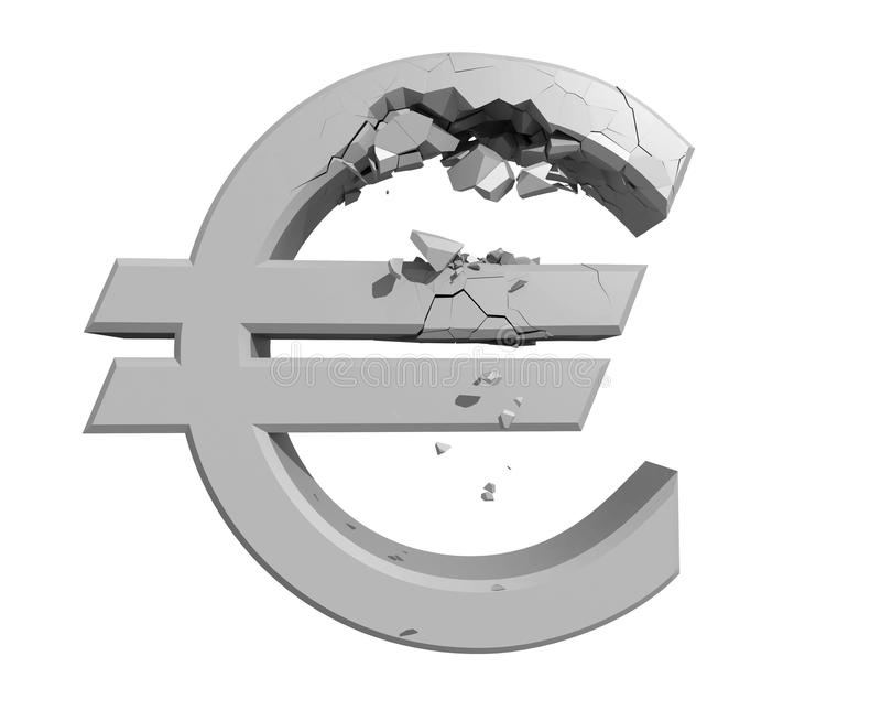 Rendered image of a crumbling Euro symbol vector illustration