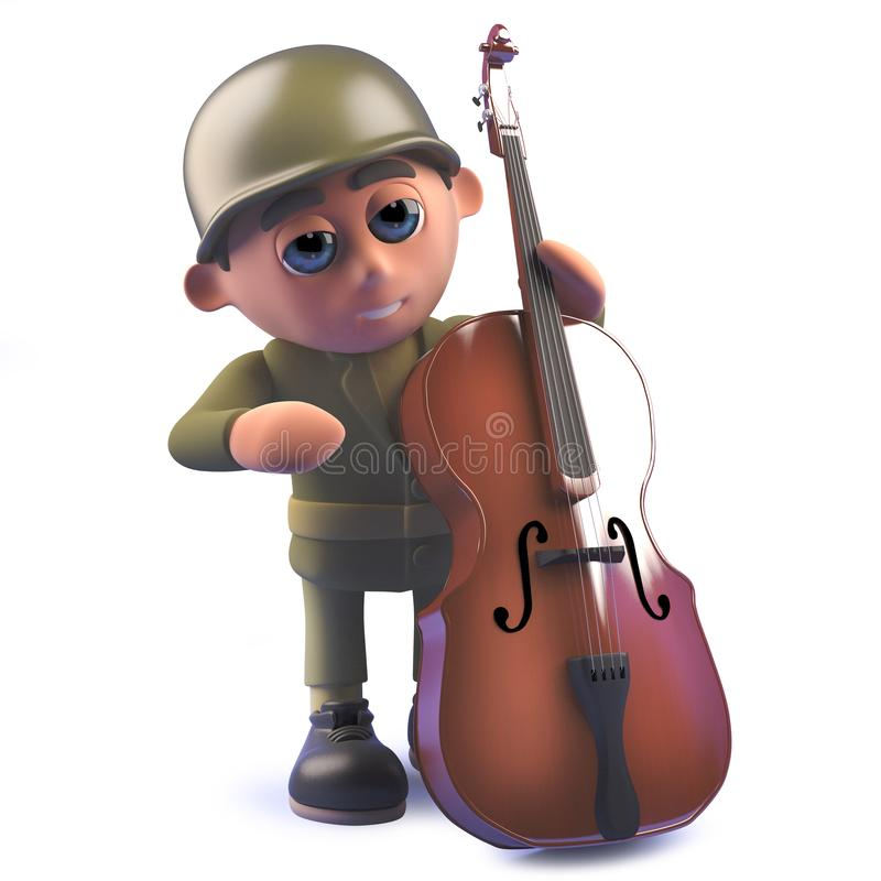 3d army soldier cartoon character playing a double bass vector illustration