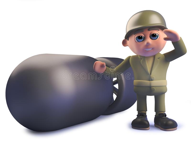 3d cartoon army soldier standing next to a nuclear atomic bomb vector illustration