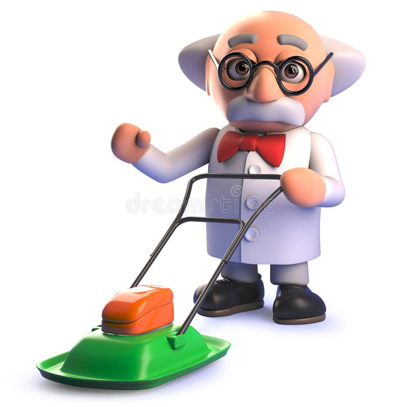 Cartoon 3d mad scientist character using a hover lawn mower. Rendered image in 3d of a cartoon 3d mad scientist character using a hover lawn mower stock illustration