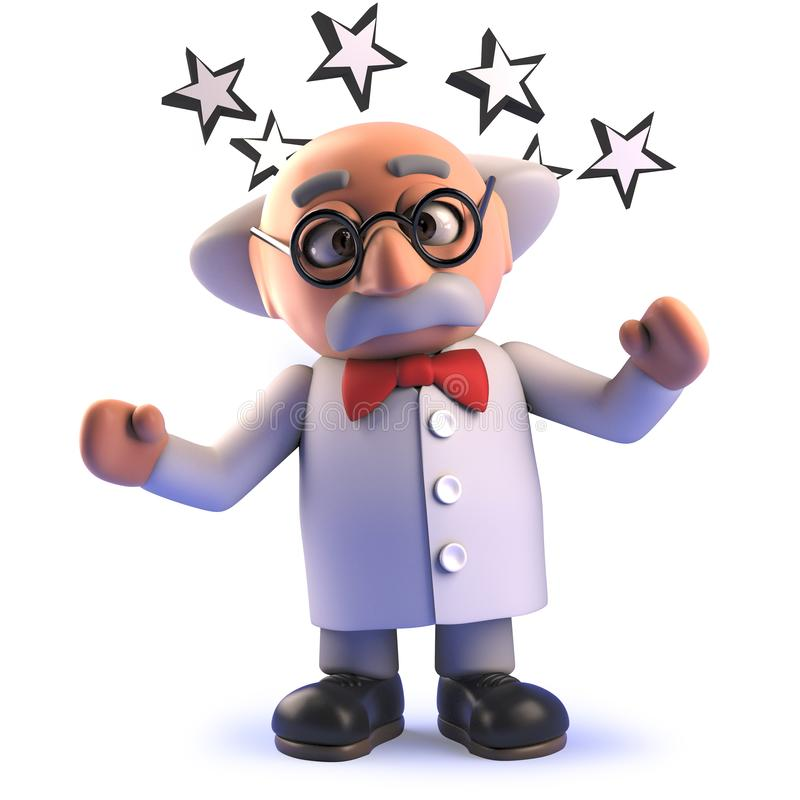 Stunned 3d cartoon mad scientist character with stars round his head. Rendered image in 3d of a stunned 3d cartoon mad scientist character with stars round his stock illustration