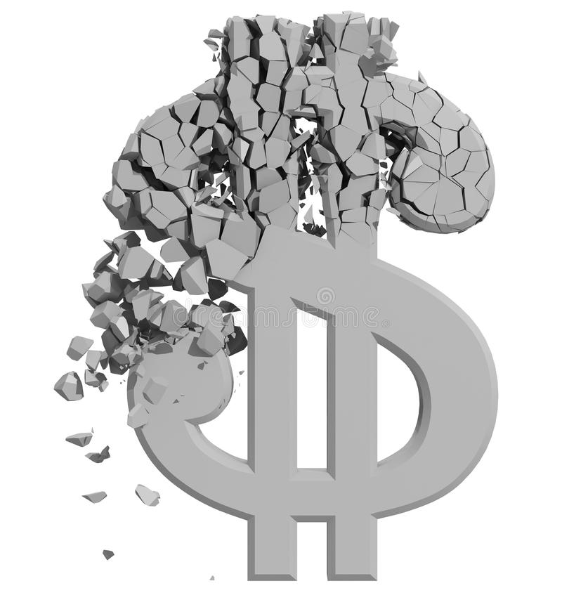 Rendered image of Dollar sign crumbling royalty free illustration