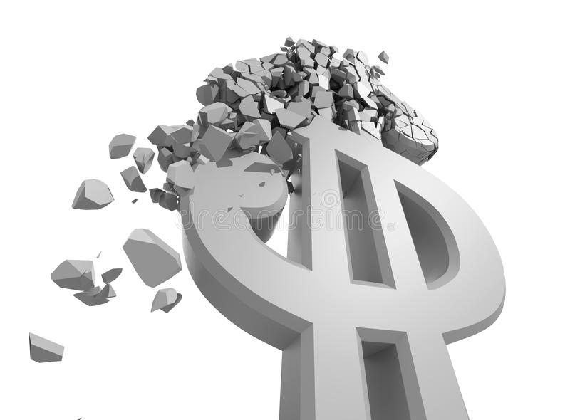 Rendered image of Dollar sign crumbling stock illustration