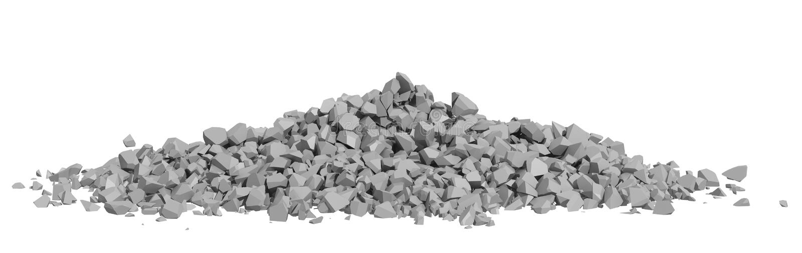 Rendered Image of Rock Rubble. Rock rubble and pebbles in a small pile isolated on a white background
