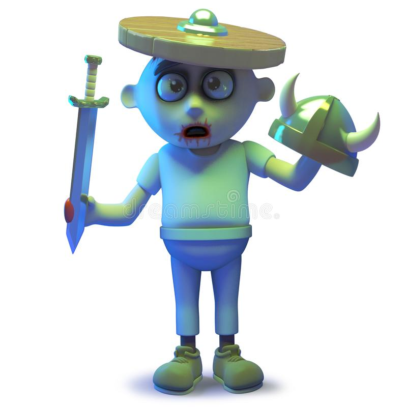 Scarey undead zombie monster wearing a shield and getting confused, 3d illustration. Rendered image of a scarey undead zombie monster wearing a shield and stock illustration