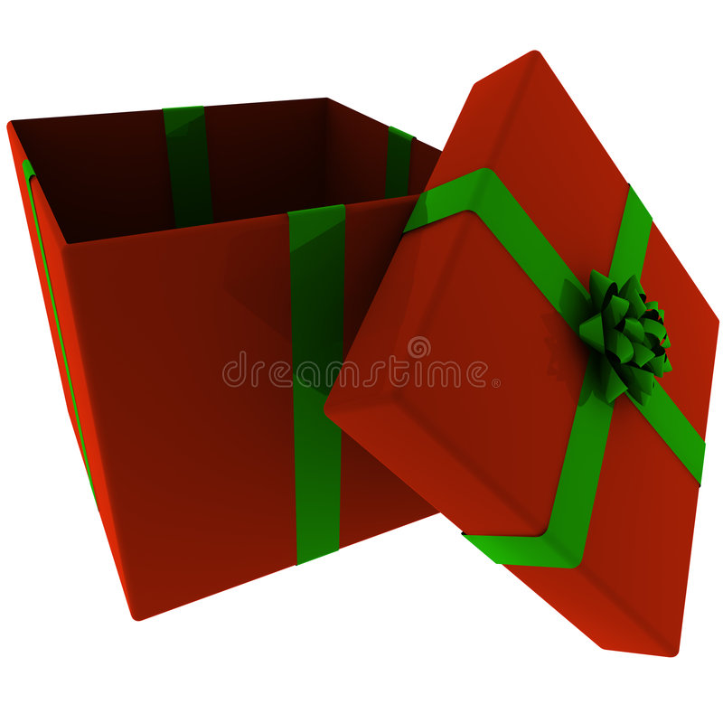Rendered Open Red Present with Green Bow vector illustration