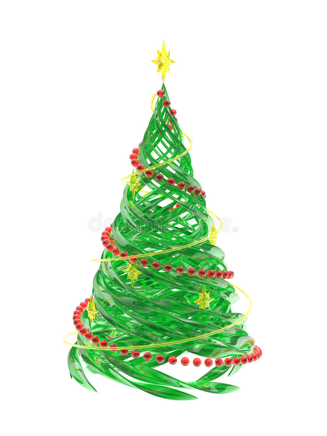 Rendered stylized Christmas pine tree. The rendered stylized Christmas glass pine tree royalty free illustration