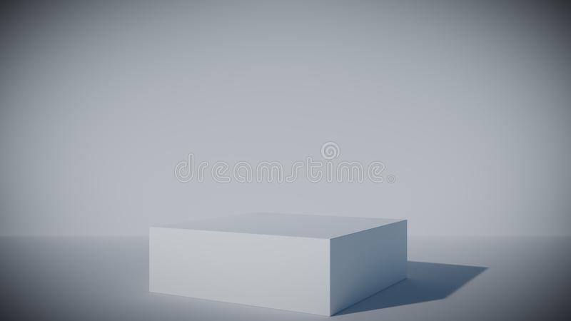Rendered white 3D pedestal in a white studio with vignette effect border. Stylish minimalist rendered white 3D pedestal in a white studio with vignette effect stock illustration