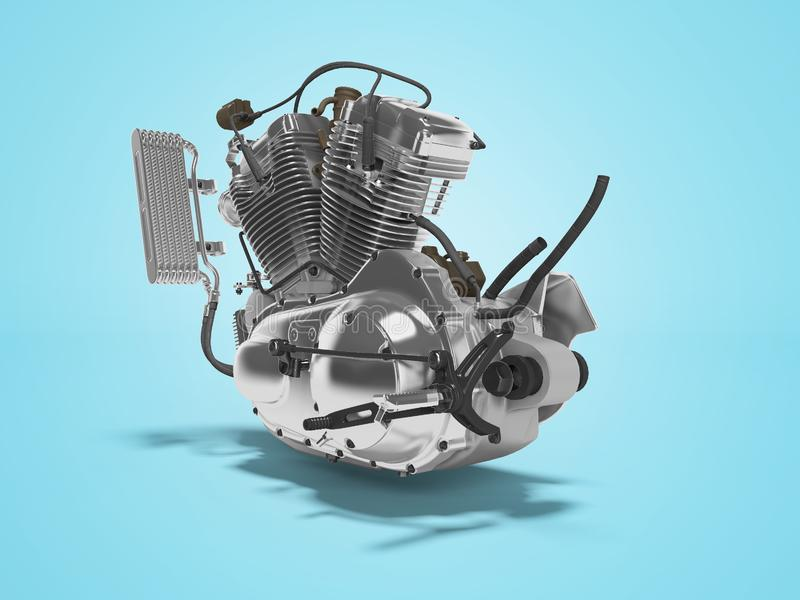 Renderer för ask för kugghjul för cylinder för motorcykel två för begreppsbensinmotor 3d på blå bakgrund med skugga vektor illustrationer