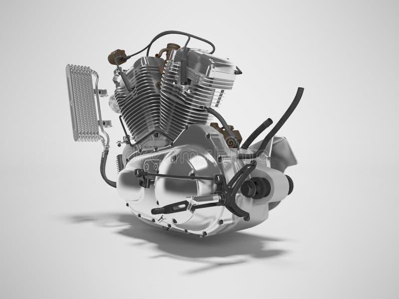 Renderer för ask för kugghjul för cylinder för motorcykel två för begreppsbensinmotor 3d på grå bakgrund med skugga royaltyfri illustrationer