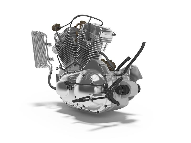 Renderer för ask för kugghjul för cylinder för motorcykel två för begreppsbensinmotor 3d på vit bakgrund med skugga royaltyfri illustrationer