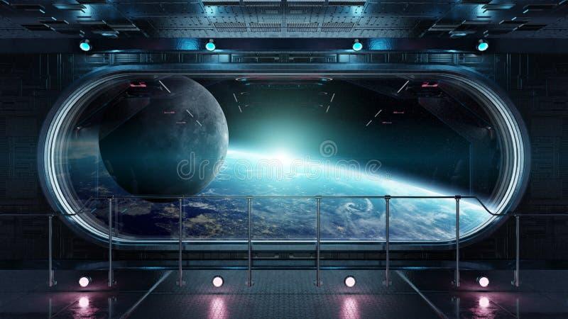 Renderi interior del fondo 3D de la tecnología de la ventana redonda negra de la nave espacial stock de ilustración
