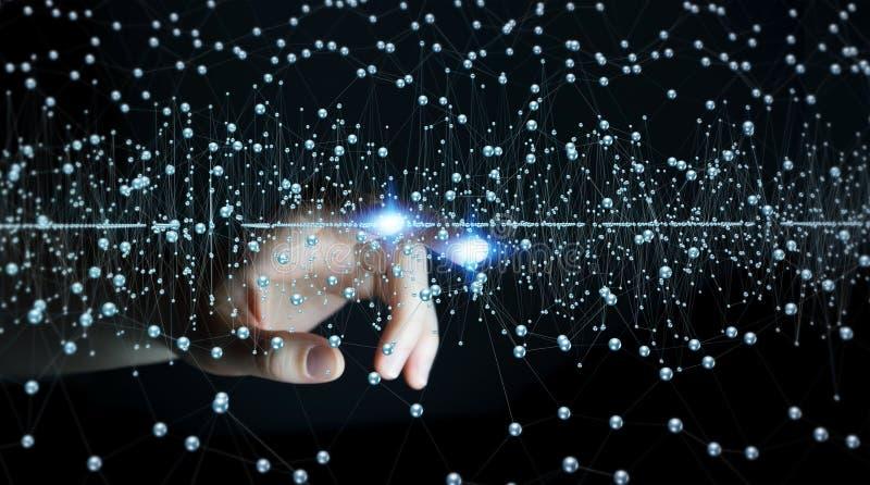 Renderin astratto commovente dell'interfaccia 3D del collegamento della donna di affari illustrazione vettoriale