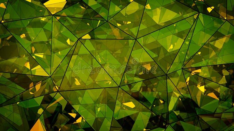 Renderin de cristal verde de varias capas triangulado del extracto 3D de la forma libre illustration