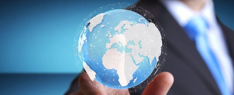 Rendering' táctil digital conmovedor del mundo '3D del hombre de negocios stock de ilustración