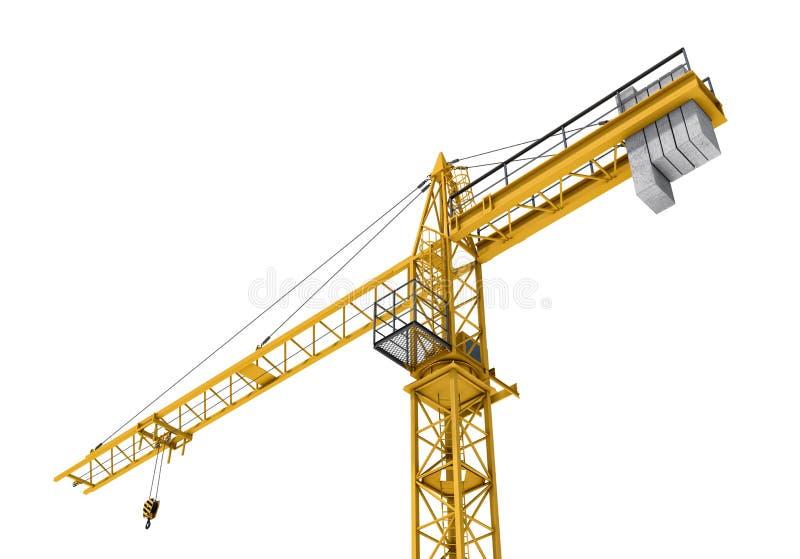 Rendering żółty budowa żuraw odizolowywający na białym tle ilustracja wektor