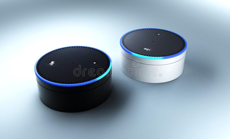 3d rendering of Amazon Echo voice recognition system. Rendering of Amazon Echo voice recognition system