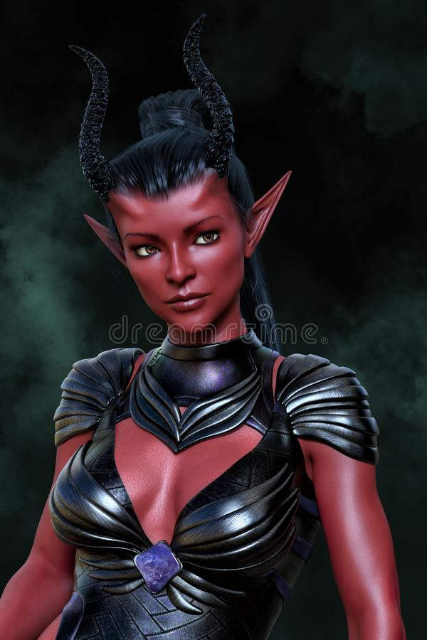 Rendering of a beautiful fantasy alien woman with red skin and black hair. Rendering of a 3D beautiful fantasy demon woman vector illustration