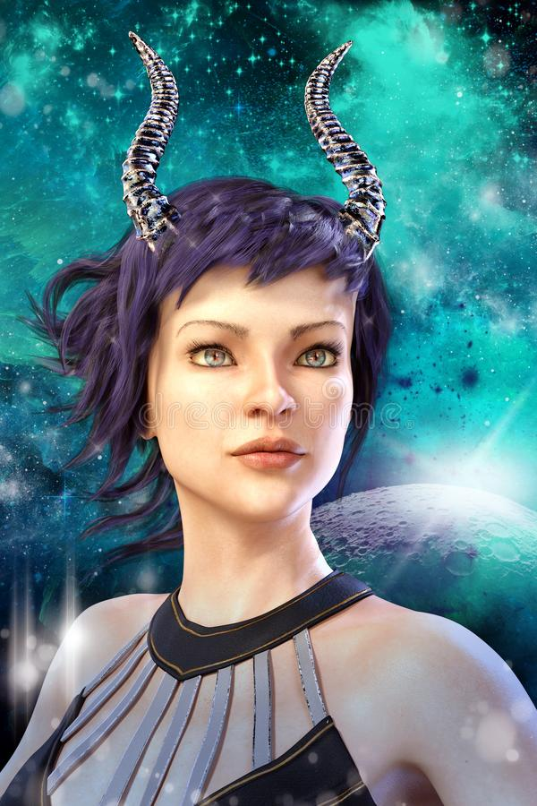 Digitally painted 3D rendering of a beautiful fantasy alien woman set against as star space background. Rendering of a beautiful horned fantasy alien woman with royalty free illustration